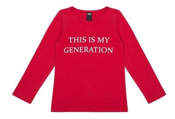Remera Generation Texto Algodón Cuello Redondo Niñas Complot