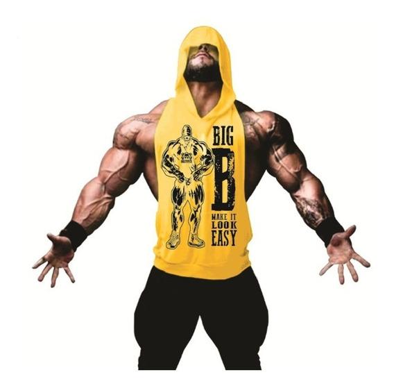 Camiseta Regata Cavada Academia Musculação Com Gorro Treino