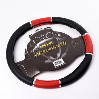 Cubre Volante Pvc 38cm Con Reflector Negro Y Rojo Universal