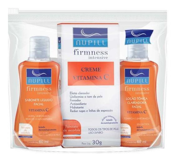 Nupill Vitamina C Creme Facial + Sabonete Liquido + Loção Tonica Clareadora Tratamento Completo Clareador Anti Rugas