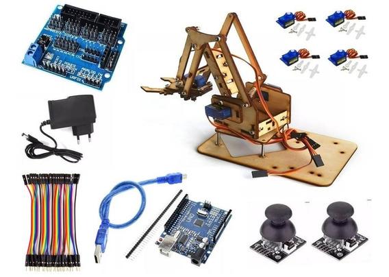 Braço Robótico Mdf Completo, Com Servos, Arduino, Jumpers.