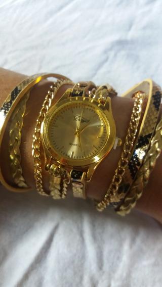 Relógio Feminino Pulseira Couro Sintético Retrô Vintage
