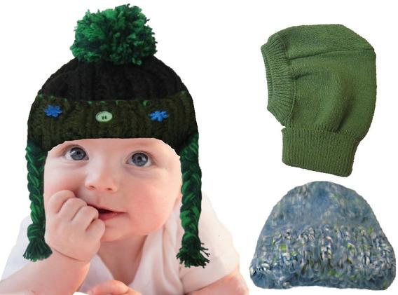 Kit Infantil 3 Gorros Touca Lã 3 Até 6 Meses Frio Intenso