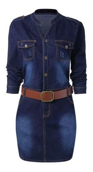 Vestido Mezclilla Con Cinturón Talla Plus +envío Gratis