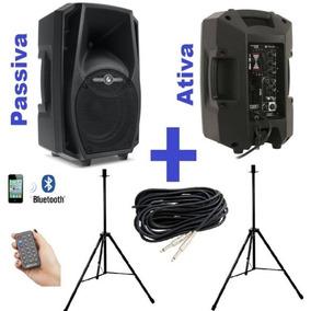 Kit Caixa Ativa + Passiva Ps8 Bluetooth Suporte Cabo 10mts