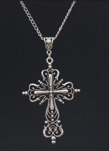 Colar Longo Pingente Crucifixo Rock Importado