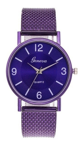 Relógio Geneva Quartz Roxo Feminino + Brinde Especial