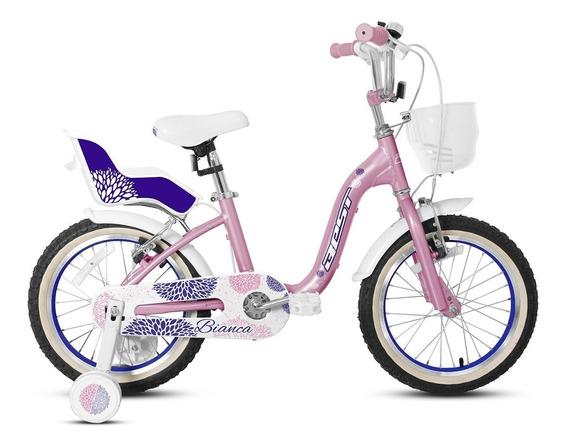 Bicicleta Best De Niña Bianca Alloy Aro 16 Rosa/blanco