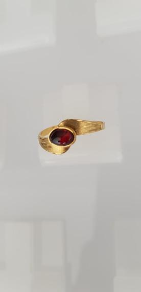 Anel Ouro Amarelo 750 Kilates Pedra Natural Granada Rodolita