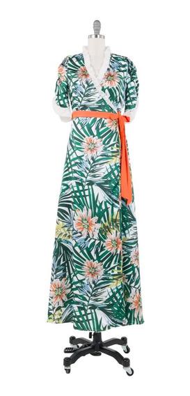 Vestido Largo Tropical, Lazo Cintura, Manga Tulipan, Playa.