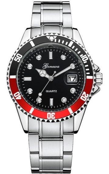 Relógio Masculino Social Geneva Com Calendário Bolha Pulseira De Aço