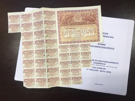Apólice Reaparelhamento Econômico 1953 Cr$ 5.000 Nº 029,949