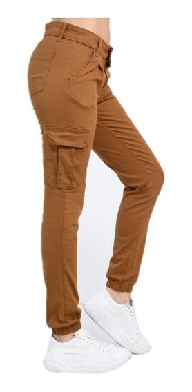 Pantalon Cargo Mujer Elastizado Verde Camel Talles Grandes