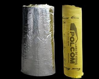 Lana De Vidrio Polcom Aluminio Tenzado 38mm X 1,20mt X Rollo De 18 Mt
