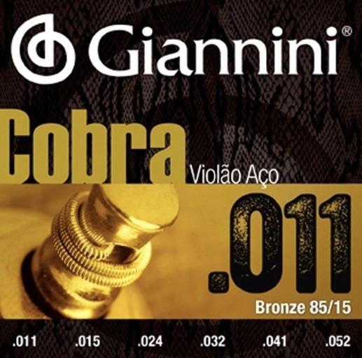 Encordoamento Giannini Cobra Violão Aço 011 Bronze 85/15