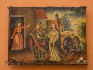 Maria Y Jose A Belen Pintura Estilo Colonial Oleo En Lienzo