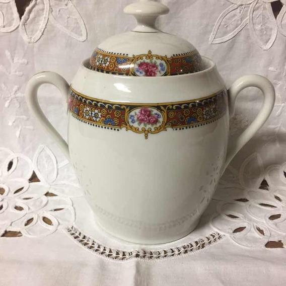 Gran Terronera Porcelana Limoges Francia Guarda Floral Y Oro
