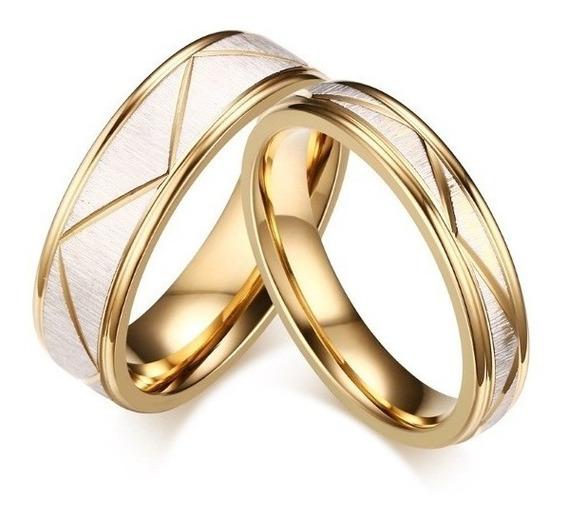 Par Aliança Anel Noivado Namoro Ouro Elegante Compromisso