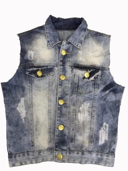 Colete Feminino Jeans Blogueiras Cropped Desfiado Curto