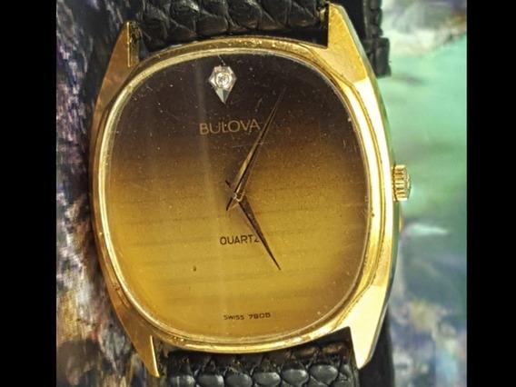 Relógio Bulova 7905 Unisex, Dial Preto E Dourado
