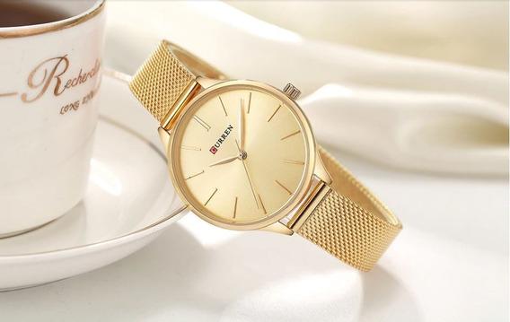 Relógio Feminino Curren Ultra Slim Luxo 2019