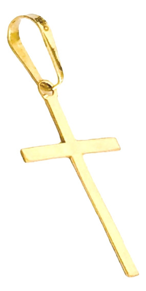 Pingente Cruz Crucifixo Ouro 18k Liso 19,20mmx12,00mm Full