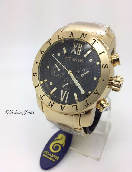 Relógio Masculino Atlantis Bv Dourado Preto