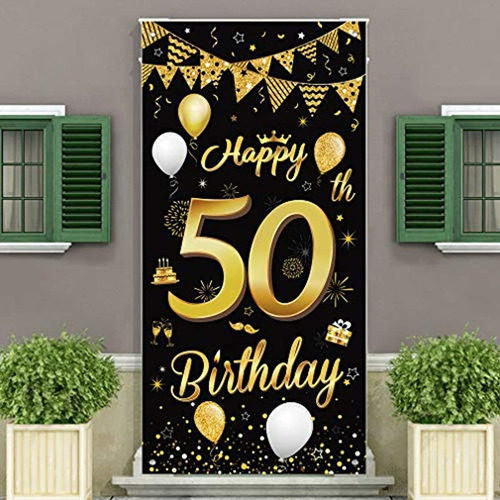 Feliz 50 Cumpleaños Fiesta Decorativa Puerta Cubierta