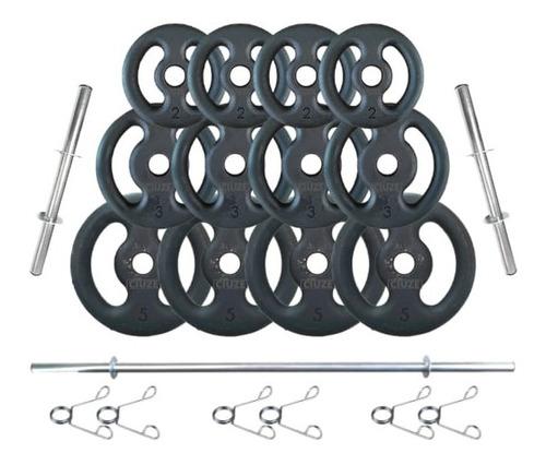 Imagem 1 de 3 de Kit Anilhas Ferro Fundido 40 Kg + Barras Com Presilhas
