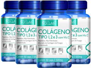 Colágeno 1, 2 E 3 + Vitamina C 240 Cápsulas 500mg - Dr Lair