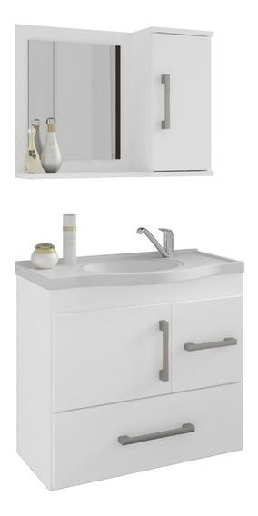 Gabinete Banheiro Fortaleza Com Espelheira E Pia Branco Mgm