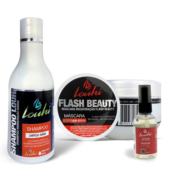 Kit Shampoo + Máscara Hidratação + Sérum Reconstrutor Louhi