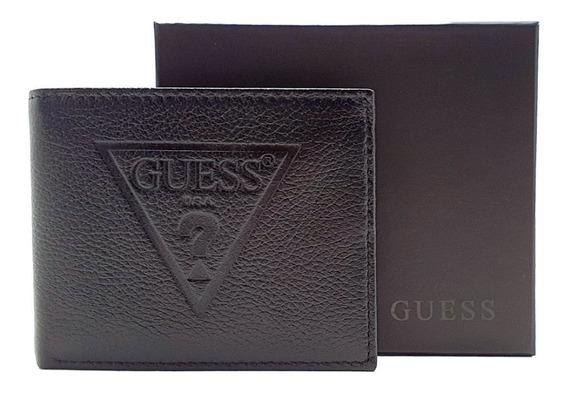 Cartera Guess Passcase Logo Grabado Negro