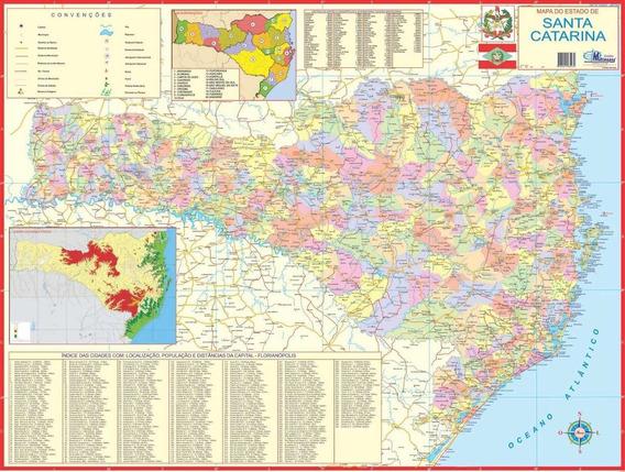 Mapa Politico Do Estado Santa Catarina 120x90