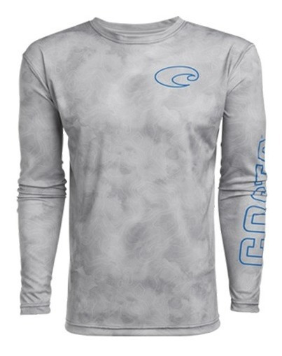 Techtopo Playera Tech Topographic Gris - Costa Del Mar