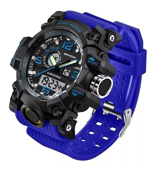 Reloj Hombre Deportivo Análogo Y Digital Fechador Rock Azul