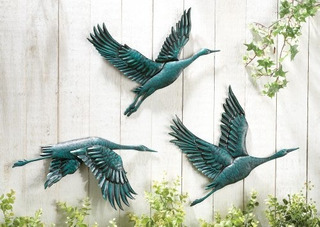 Collections Etc Birds In Flight Metal Wall Decor - Set Of 3
