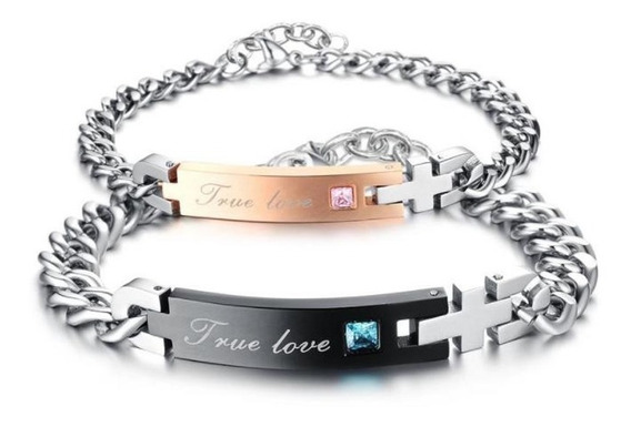 Pulsera Pareja True Love Acero Inoxidable. Regalo 14 Feb