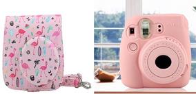 Bolsa Couro Sint Flamingo + Capa Silicone Instax Mini Rosa