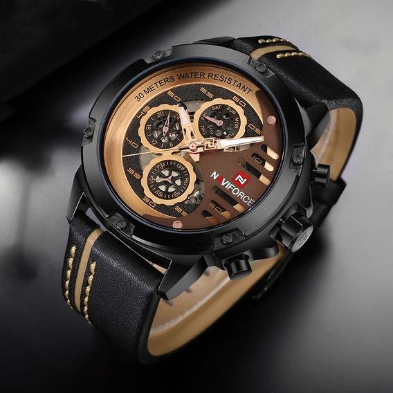 Relógio Esporte Masculino Original Naviforce Nf9110 B Rg Bn