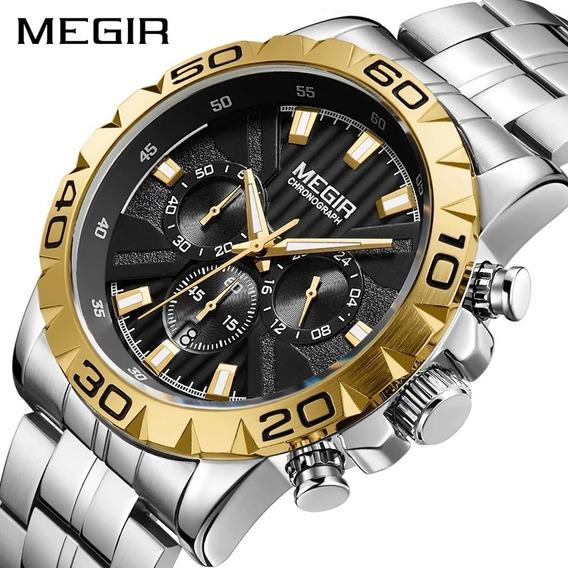 Relógio Megir 2087 Dourado Original A Prova D