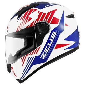 Capacete Zeus 811 Evo Top Gun Solid White Al28 Blue