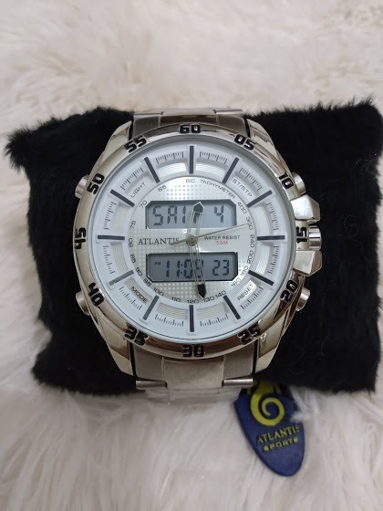 Relógio Masculino Prateado Original Atlantis