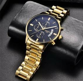 Relógio Nibosi Dourado Original Novo!