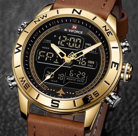 Relógio Masculino Naviforce 9144 Original Esportivo Couro
