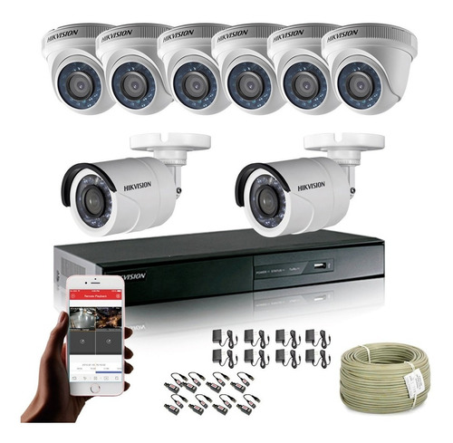 Cámaras De Seguridad Kit Hikvision Dvr 8ch + 8 Cámaras 720p