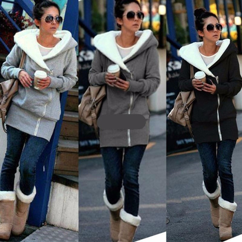 Chaqueta Mujer Invierno Long Sleeve Hoodie Sweatshirt //