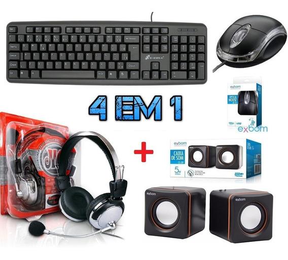 Kit Teclado + Mouse Caixa Som + Fone Ouvido Microfone Gamer