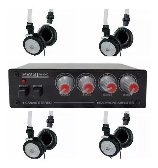 Fone Akg K414p + Amplificador 4 Canais Sistema Retorno Palco