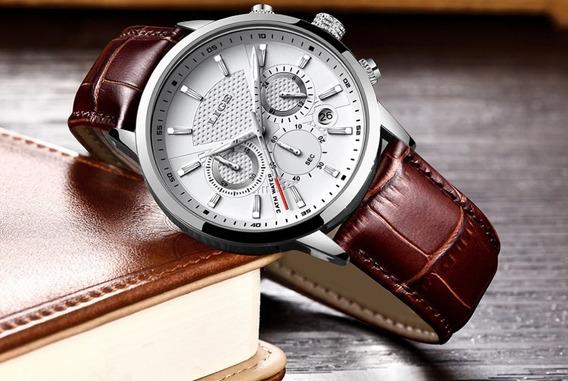Lige Mens Relógios Top Marca De Luxo De Couro Casual Quartz